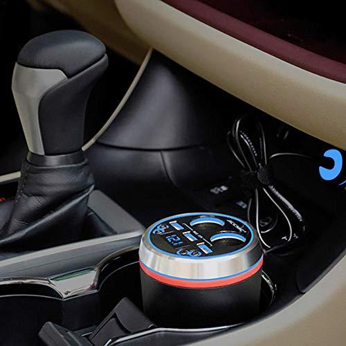 3 USB Car Charger Adapter with Cigarette Lighter Socket Cup Holder Type Support Voltage Detection for Mobile Phone Tablet Navigator Multi Splitter Set Bluetooth Fm Transmitter Mp3 Music Player