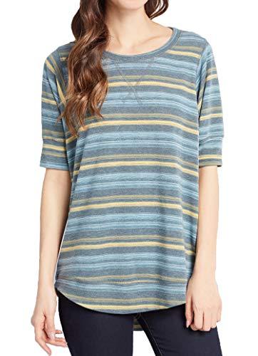 (OURS Women's Short Sleeve Side Split Loose Casual Plus Size Plain Tunic Tops T Shirt (XL, Gray Stripe))