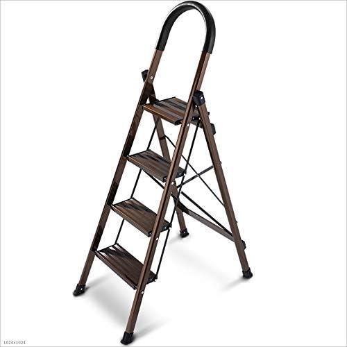 Love lamp Escaleras Plegables 4 peldaños Antideslizantes escalón Estriado Pedal ensanchado Escalera Plegable de Aluminio Escalera portátil Ligera, marrón Escaleras Telescópicas: Amazon.es: Hogar