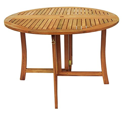 Zen Garden 43 inch Eucalyptus Foldable Deck Table, Teak Wood Finish, Teak Yellow - Garden Furniture Foldable Wood