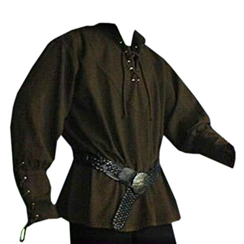 Mens Medieval Pirate Viking Renaissance Costume Adult Lace up Mercenary Scottish Wide Cuff Shirt Jacobite Ghillie Tops (Cuff Wide Shirt)