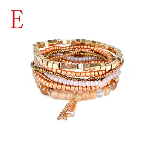 Molyveva Bohemia Stacked Bracelets Handmade Beaded Charm Bangles Tassels Bracelet Women Girls Jewelry (E) (Jewelry Bracelet Bangle Plastic)