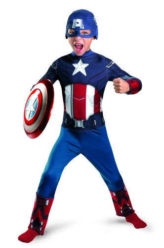 Avengers Captain America Classic Costume, Red/White/Blue, Large