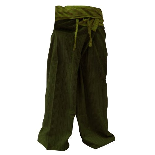 LannaPremium 2 Tone Thai Fisherman Pants Men Yoga Trousers Free Size Dark Green and Green -