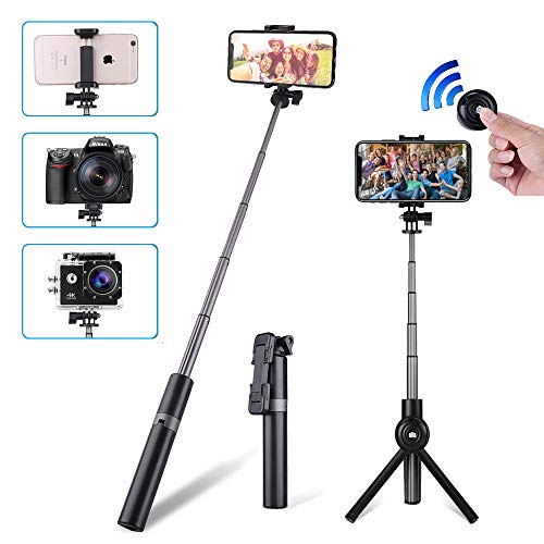 Selfie Stick Bluetooth, CAFELE Extendable Selfie Stick Tripod with Tripod Stand and Wireless Remote Shutter for iPhone X/8/8P/7/7P/6s/6P, Galaxy S9/S9 Plus/S8/S7/ S6/S5/Note 8, Google, More (Black)