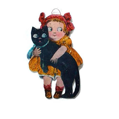 Halloween Ornament Decoration Black Cat Cute Red Bow Girl