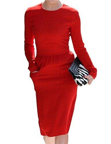 PU&PU Robe Aux femmes Gaine Simple,Couleur Pleine Col Arrondi Mi-long Polyester , black-m , black-m