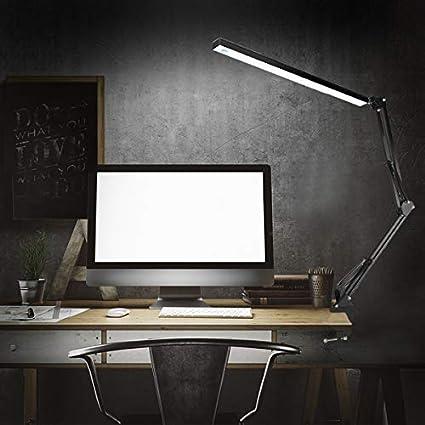 Lampe Esth/étique /à 3 Modes de Couleurs avec Bras Pivotant en M/étal Lampe Architecte Pliable avec Clamp 7.8W Noir Luminosit/é R/églable avec Bouton NovoLido Lampe de Bureau Dimmable LED /à Pince