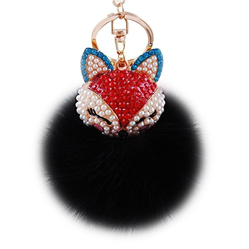 Handbag Keychain Key Purse Ring - Boseen Genuine Rabbit Fur Ball Pom Pom Keychain with A Fashion Alloy Fox Head Studded with Synthetic Diamonds(Rhinestone) for Womens Bag Cellphone Car Charm Pendant Decoration(Black)