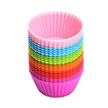 Baking Cups, [24 Pack] Patec Silicone Bakeware Baking Muffin Cups Reusable Cupcake Liners Moulds Sets, BPA Free and FDA Approved Muffin Molds Set with 6 Colors