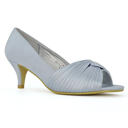 ESSEX GLAM Mujer Nupcial Tacón de Gatito Satín Peep Toe Zapato Plata Satín