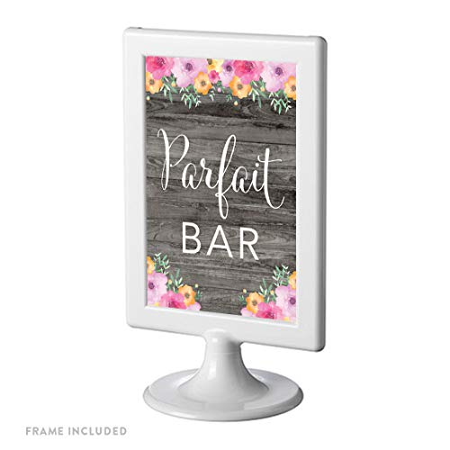 Andaz Press Framed Wedding Party Signs, Rustic Gray Wood Pink Floral Flowers, 4x6-inch, Parfait Bar, 1-Pack, Includes Reusable Photo Frame, Frozen Yogurt -