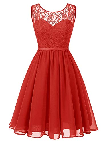 - Chiffon Short Bridesmaid Dresses Lace Homecoming Prom Dress Cocktail Evening Gowns Knee Length US 20W Red