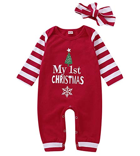 Christmas Newborn Infant Baby boy Girl Clothes Outfit Long Sleeve Romper Pajama+Striped Headband Set (70(3-6M)) Red