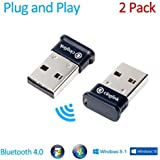 Cinolink Bluetooth 4.0 USB Adapter for Windows / Linux / Mac - Plug and Play, Class 1, 50 Meter- APTX, 2-Pack