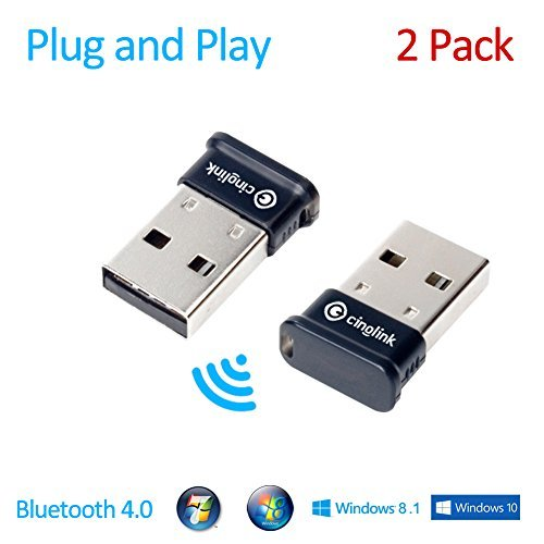 Cinolink Bluetooth 4.0 USB Adapter for Windows / Linux / Mac - Plug and Play, Class 1, 50 Meter- APTX, 2-Pack (Bluetooth For Mac)