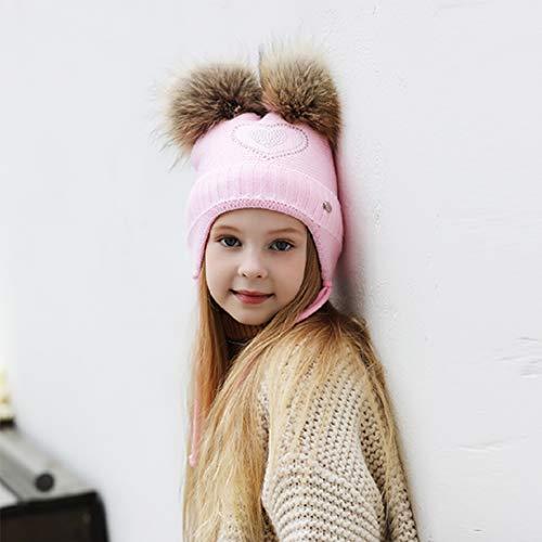 YABINA ACCESSORY Earflaps Fleece Lined Winter Knit Hat Knitted Faux Fur Pom Pom Girls(2-6 Years) Warm Knit Beanie Hat (Pink)