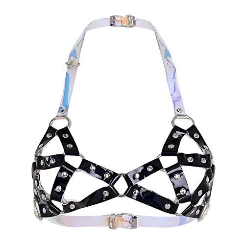 (Agoky Women's PVC Vinyl Bra Cage Body Chest Harness Belt Bras Nightwear Clubwear Role Play Costume Black One Size)