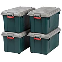 IRIS SIA-760D GRN/GRN/RED 4-Piece Weather-Resistant Heavy Duty Storage Tote, 21.8-Gallon, Green