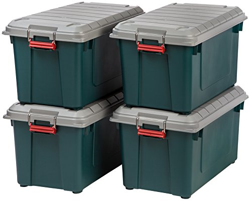 IRIS USA, Inc. SIA-760D Store-It-All WEATHERTIGHT Totes, 82 Quart, Green/Gray/Red (Outdoor Target Storage)