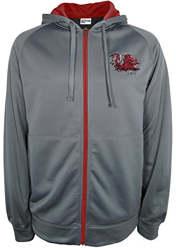 Athletic Majestic Hood (NCAA South Carolina Fighting Gamecocks Full Zip Hood with Contra, Medium, Charcoal)