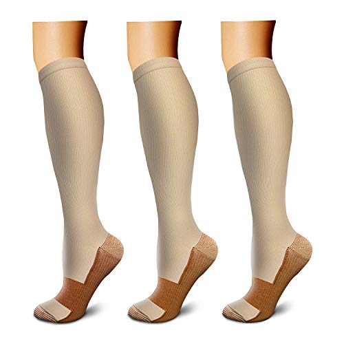 Copper Compression Socks (3 Pairs), 15-20 mmHg is Best Athletic & Medical for Men & Women, Running, Flight, Travel, Nurses - Boost Performance, Blood Circulation & Recovery (Large/X-Large, Nude)