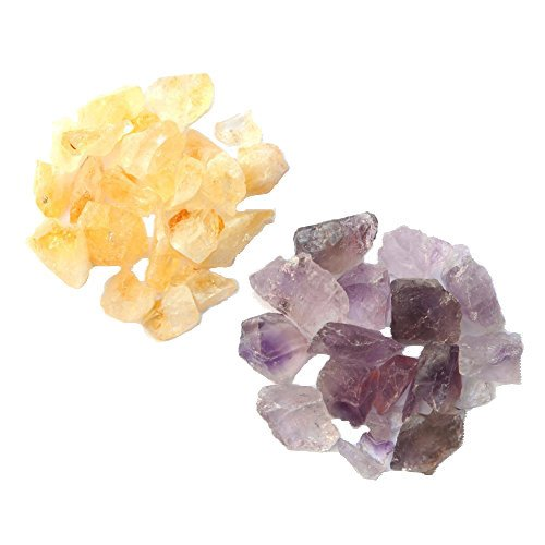 1Lbs Total of 0.5 to 1.5 Inch Rough Purple Amethyst and Yellow Citrine Stones from Brazil