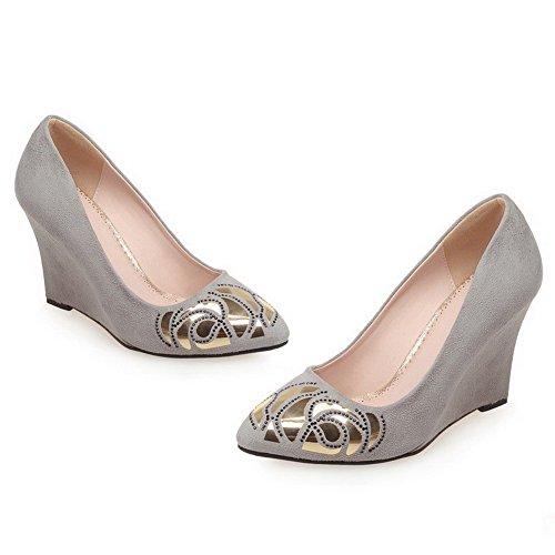 Amoonyfashion Womens Geassorteerde Kleur Frosted Hoge Hakken Pull-on Puntige Dichte Teen Pumps-schoenen Grijs