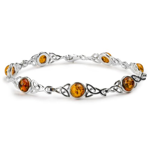 Sterling Silver Amber Celtic Knot Bracelet Length 7.5 Inches