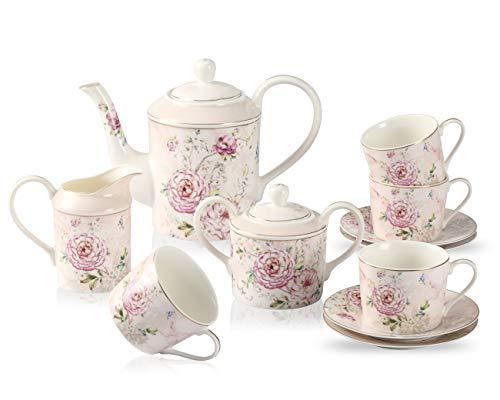 GuangYang Juego de te de porcelana fina con flor de peonia-1 tetera 1 azucarero (450 ml) 1 crema (350 ml) 4 tazas (220 ml) y 4 platillos