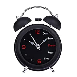 Alarm Clock - Household Retro Alarm Clock Double Bell Round Number English Desk Table Home Decor - Impaired Speaker Blue Interactive Voice Outdoor Jungle Indoor Control Wheels