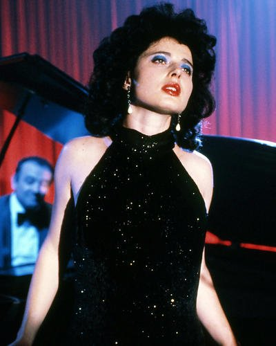 (Blue Velvet Isabella Rossellini in Sequin Gown by Piano Classic 8x10 Promotional Photograph)