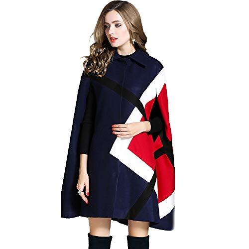 (ilovgirl New 2018 Fashion Women Winter Jacket Geometric Pattern Batwing Sleeve Woolen Warm Cloak Ponchos Cape Coat Wool Blends Outerwear (S, Navy))