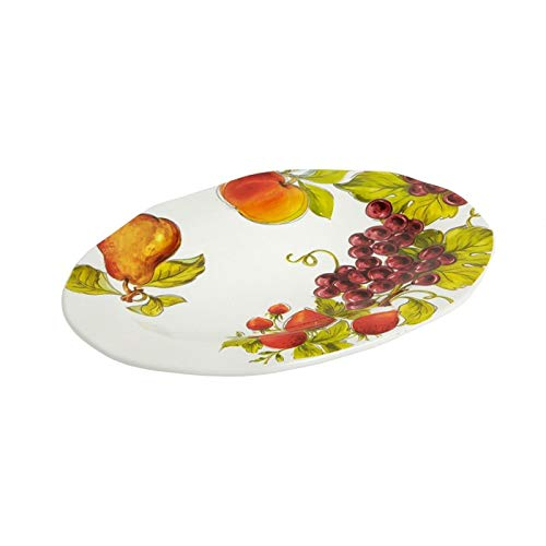 (Tuscan Table Grapes Peach Strawberries Pear Fruit Oval Ceramic Serving Platter,)