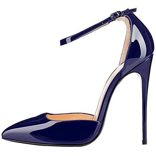 High Leather Heels Navy (Lovirs Womens Navy High Heel Pointed Toe Ankle Strap Stiletto Pumps Wedding Basic Shoes 8 M US)