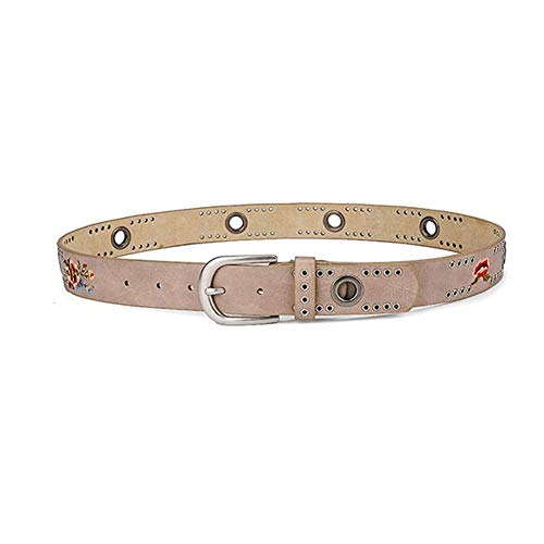 Ladies Studded Belt With Print Waistband Suitable for Jeans Shorts for Women Khaki
