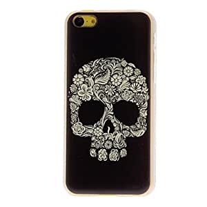 Cool Skull Formed By Flowers Pattern Transparent Hard Case for iPhone 5C