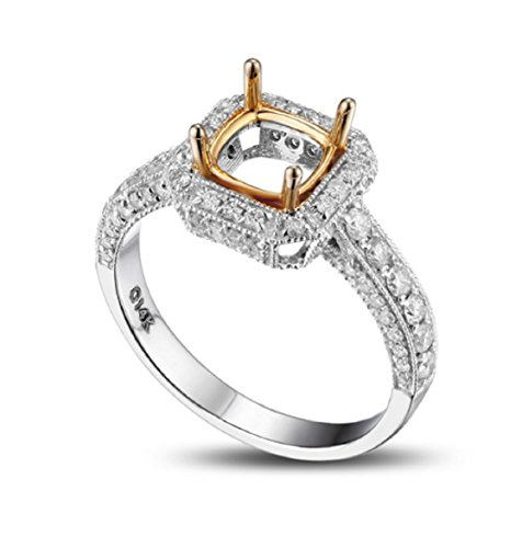 14k 6 Mm Mount (GOWE Cushion Cut 6x6mm Real 14K Multi-Tone Gold Milgrain Pave 0.78CT Diamond Semi Mount Ring)