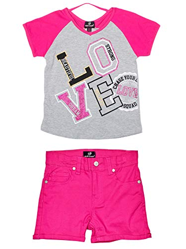 dollhouse Girls' Comfy 2-Piece Summer Outfit with Denim Shorts and Knit Top, Grey/Pink Love, Size 10/12' 2 Piece Denim Jeans