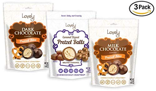 GLUTEN-FREE Chocolate Pretzel Ball Assortment (3-Pack) - Lovely Candy Co. 6oz Bags - Milk & Dark Chocolate and Salted Caramel, NON-GMO, NO HFCS, RBST-FREE & Gluten-Free, Made in the USA!