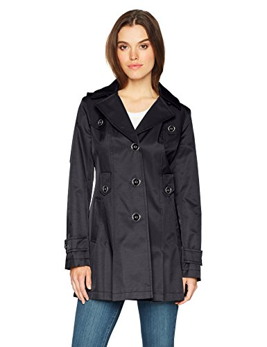 Via Spiga Women's Single-Breasted Belted Trench Coat with Hood, Navy, Large (Via Coat Womens)