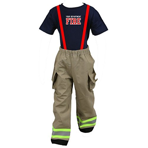 Fully Involved Stitching Personalized Firefighter Toddler Tan 2-Piece Outfit (4T)]()