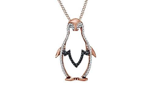 e248e20b4a Nero e Bianco diamante naturale pinguino ciondolo collana in oro 18 ct su  argento sterling (