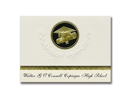 Signature Announcements Walter G O'Connell Copiague High School (Copiague, NY) Graduation Announcements, Presidential Elite Pack 25 Cap & Diploma Seal Black & Gold (Walter G O Connell Copiague High School)