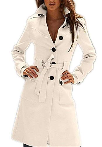 (Tengfu Women's Winter Single Breasted Slim Fit Wool Long Trench Coat with Belt (M US 2-4, White))