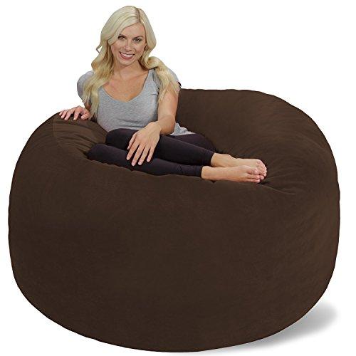 Chill Sack Bean Bag Chair: Giant 6' Memory Foam Furniture Bean Bag - Big Sofa with Soft Micro Fiber Cover - Brown Pebble