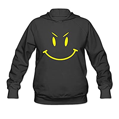 DVPHQ Women's Design Cute Evil Smiley Face Hooded Sweatshirt Black