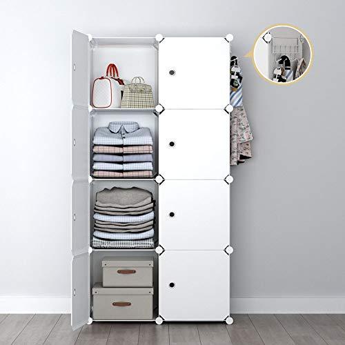 (YOZO Modular Wardrobe Portable Clothes Closet Garment Rack Polyresin Storage Organizer Bedroom Armoire Cubby Shelving Unit Dresser Multifunction Cabinet DIY Furniture, White, 8 Cubes )