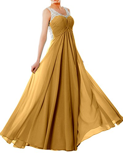 b0245868db MACloth Women Straps V Neck Chiffon Lace Long Prom Dress Formal EveningBall Gown  Gold numzJuHG