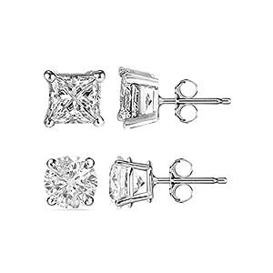 925 Sterling Silver Cubic Zirconia Stud Earrings